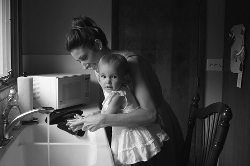 mother and daughter black in grayscale
